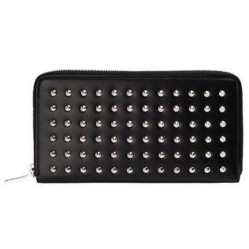 YSL 經典CLOUS PAVES系列鉚釘造型小牛皮拉鍊手拿長夾(黑)328554-1000