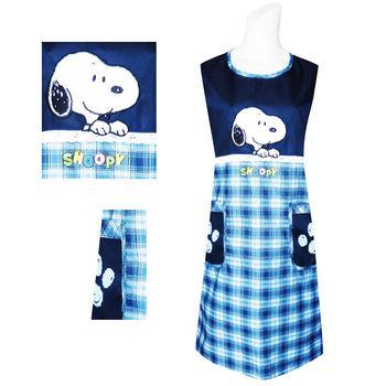 【SNOOPY】藍色電繡格紋圍裙SP501