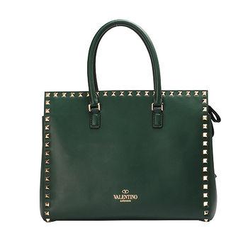 VALENTINO 經典ROCKSTUDD系列小羊皮鉚釘飾邊三層手提包(墨綠)GWB00664-L54-GREED