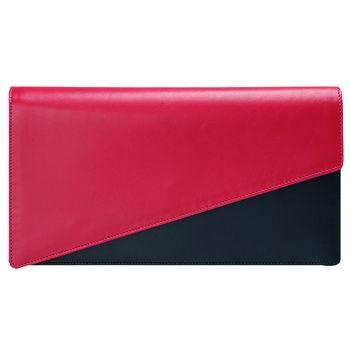 YSL 極簡造型小牛皮撞色暗釦手拿包(桃紅X黑)318026-2148