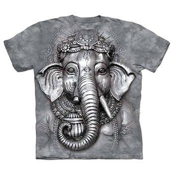 【摩達客】預購(大尺碼)-美國進口The Mountain 象頭神臉 T恤