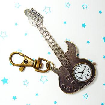 大電吉他造型鎖扣項鍊二用錶