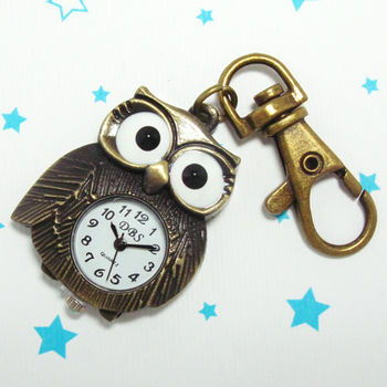 大眼胖胖貓頭鷹造型鎖扣項鍊二用錶