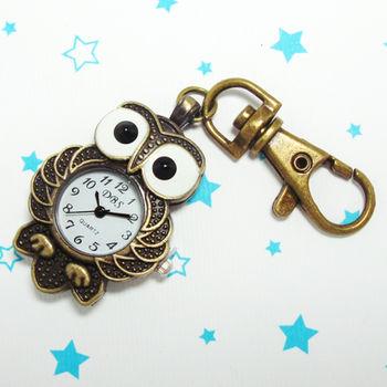 大眼正站貓頭鷹造型鎖扣項鍊二用錶