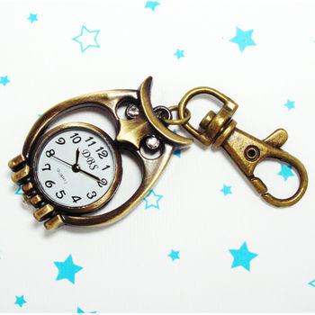 復古鑽眼貓頭鷹造型鎖扣項鍊二用錶
