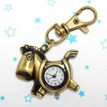 復古小馬造型鎖扣項鍊二用錶