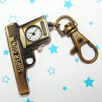 復古手槍造型鎖扣項鍊二用錶