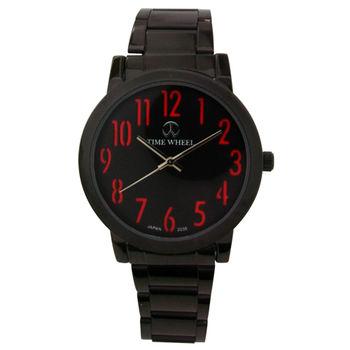TIME WHEEL 彩色數字黑鋼腕錶