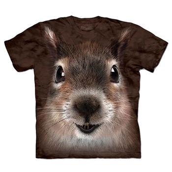 【摩達客】預購(大尺碼)-美國進口The Mountain 松鼠臉 T恤