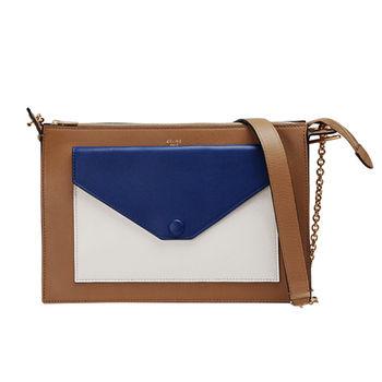 CELINE 專櫃新款Pocket撞色小牛皮金鍊肩背/斜背包(棕X藍X米色)175083UNA-07IN