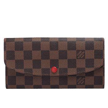 LV N63544 Emilie系列經典Damier棋盤格釦式長夾(紅)