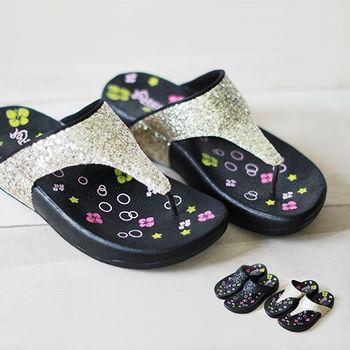【Pretty】若梵妮_德國PU環保素材夾腳健走鞋-金色、黑色