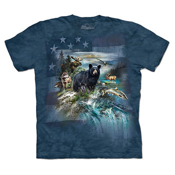 【摩達客】預購(大尺碼)-美國進口The Mountain 愛國北美動物 T恤