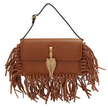 VALENTINO 金色獅鷲造型小羊皮流蘇磁釦手提包(棕色)GWB00713-A06-BEIGE