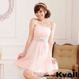 【KVOLL大尺碼】粉色珠鏈蝴蝶結網紗小禮服