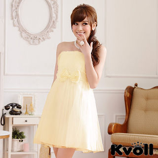 【KVOLL大尺碼】黃色珠鏈蝴蝶結網紗小禮服