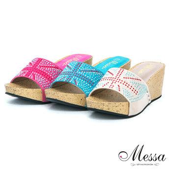 【Messa米莎】(MIT) 英倫氣息亮彩水鑽楔型厚底拖鞋-三色