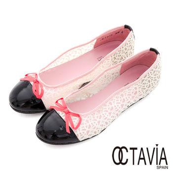 【OCTAVIA】噢!親愛的蕾絲! 小結圓頭娃娃鞋 - 白蕾絲