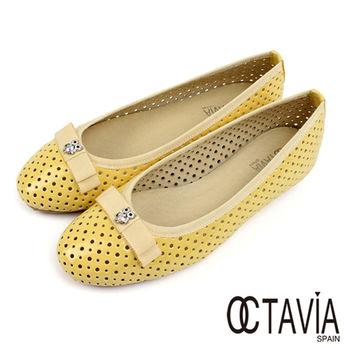 【OCTAVIA】貓頭鷹水鑽洞洞亮皮娃娃鞋 - 嫩黃