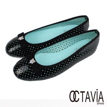 【OCTAVIA】貓頭鷹水鑽洞洞亮皮娃娃鞋 - 亮黑