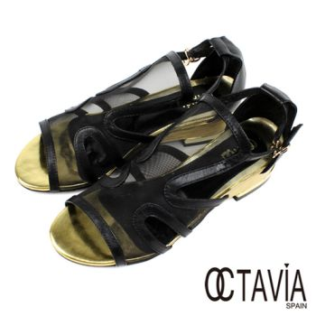 【OCTAVIA】看見蝴蝶 透明性感T背金屬大底網狀涼鞋 - 透視黑