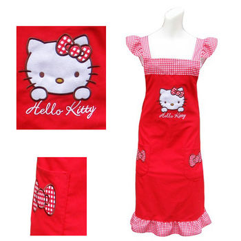 【Hello Kitty】紅色花邊荷葉袖圍裙KT-0907A