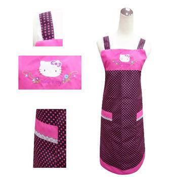 【Hello Kitty】圓點蕾絲圍裙KT-0750B(黑底‧紫圓點)