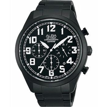 ALBA 街頭玩酷時尚三眼計時腕錶-IP黑VD53-X170SD(AT3591X1)