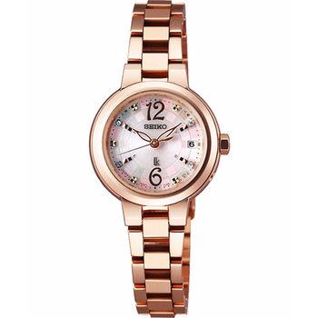SEIKO LUKIA 甜蜜時光璀璨電波腕錶-粉x玫塊金1B22-0BM0P