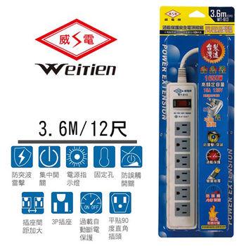 威電牌 3孔1開6插電腦延長線 15A 12尺 WT-613-12