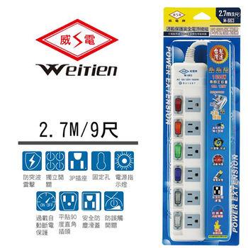 威電牌 3孔6開6插電腦延長線 15A 9尺 M-663-9