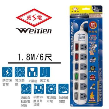 威電牌 3孔6開6插電源延長線 15A 6尺 M-366-6