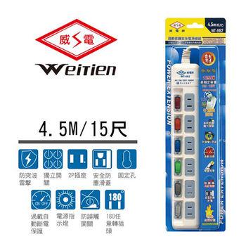威電牌 2孔6開6插電源延長線 15A 15尺 WT-662-15