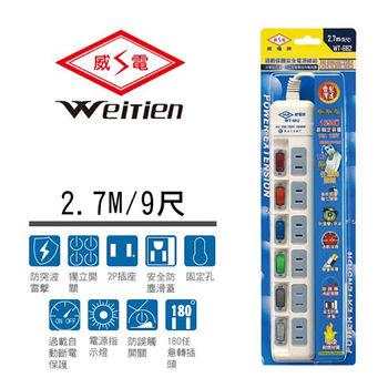 威電牌 2孔6開6插電源延長線 15A 9尺 WT-662-9