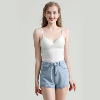 【Naya Nina】Bra Top細肩帶無鋼圈罩杯內搭背心(白色)