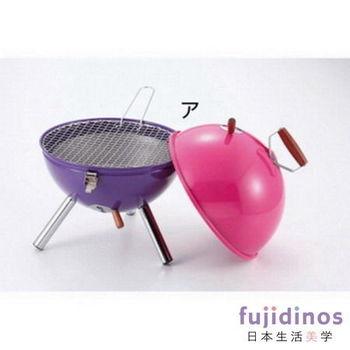 【CAPTAIN STAG】多功能迷你烤肉架組(附烤肉夾)粉紅x紫色