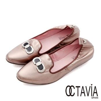 【OCTAVIA】法式香頌 鑽飾淑女平底鬆緊樂福休閒鞋 - 淺金