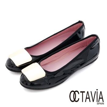 【OCTAVIA】金色年代 亮面牛皮淑女平底鞋 - 氣勢黑