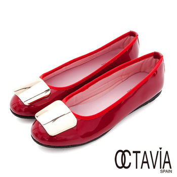 【OCTAVIA】金色年代 亮面牛皮淑女平底鞋 - 大器紅
