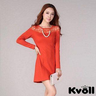 【KVOLL大尺碼】橙色蕾絲拼接素面洋裝