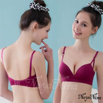 【Naya Nina】深V三角提拉素色無鋼圈運動內衣(紫紅)