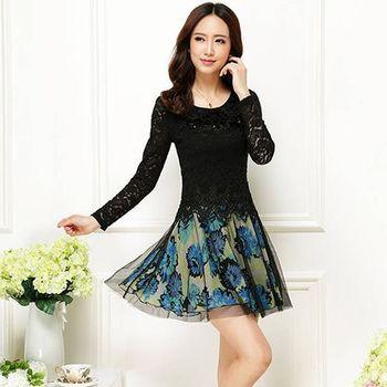 【Jisen】韻雅蕾絲拼接洋裝
