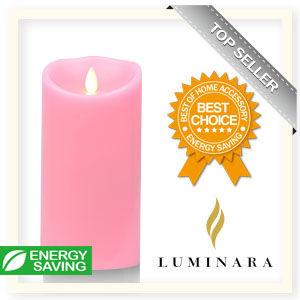 【Luminara 盧米娜拉 擬真火焰 蠟燭】 粉紅玫瑰香氛光滑蠟燭禮盒(大)