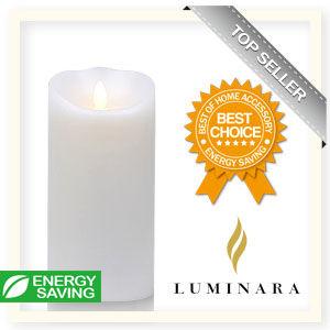 【Luminara 盧米娜拉 擬真火焰 蠟燭】 珍珠白海洋香氛光滑蠟燭禮盒(大)