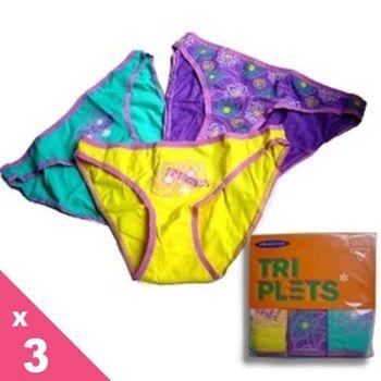 【西班牙PRINCESA】(8861d)女性低腰黃綠紫棉三角褲3件/組(M/L)