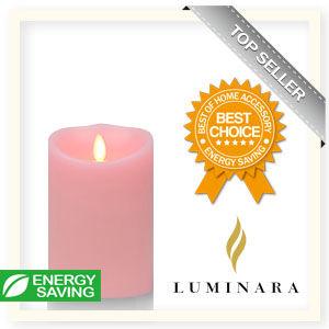 【Luminara 盧米娜拉 擬真火焰 蠟燭】粉紅玫瑰香氛光滑蠟燭禮盒(中)