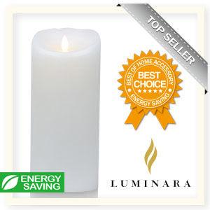 【Luminara 盧米娜拉 擬真火焰 蠟燭】 珍珠白海洋香氛光滑蠟燭禮盒(特大)