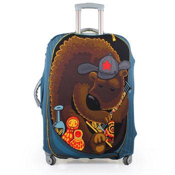 PUSH! 俄羅斯娃娃熊行李箱彈力保護防塵套24吋(適合22-26吋)