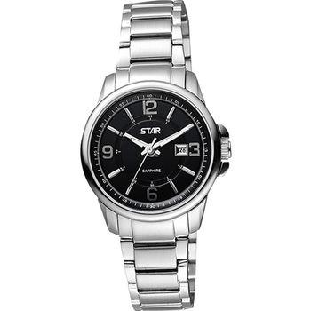 STAR 躍動時刻藍寶石水晶時尚女錶-黑1T1407-131S-D