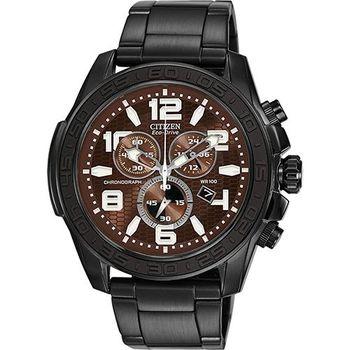 CITIZEN Chronograph 競速三眼計時腕錶-咖啡xIP黑AT2275-56X